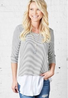 Shirttail Stripe Top
