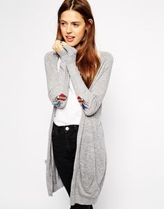 Image 1 ofASOS Cardigan With Love/Hate Elbow Patch