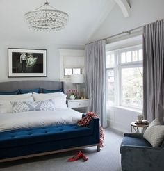 Transitional Home Tour bedroom gray drapes, love the navy benchy accent | bling chandelier | great mix of modern and traditional
