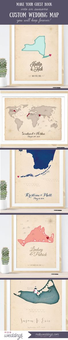 These custom wedding Maps are awesome guest book alternatives for your #diywedding - they even have a print at home version!