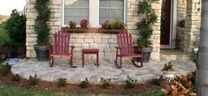 A little fancier version of my front patio.  I like this picture for the landscape idea around the front of the patio.