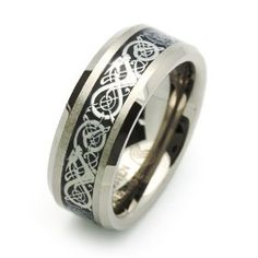 8MM Comfort Fit Tungsten Wedding Band Celtic Dragon Enlaid Ring For Men & Women ( Size 7 to 14)