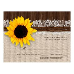 Rustic Sunflower Wedding RSVP Postcard