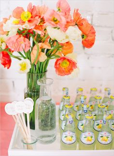 Cute ideas for refreshments at party or wedding. Captured By: Jodi Miller Photography ---> http://www.weddingchicks.com/2014/05/21/laura-hooper-calligraphy-workshop/