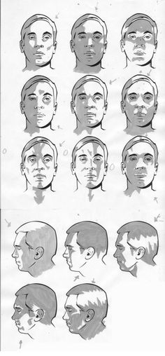 Male facial light study by CharlieKirchoff || CHARACTER DESIGN REFERENCES | Find more at https://www.facebook.com/CharacterDesignReferences