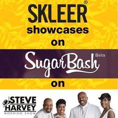 SKLEER showcases on SugarBash's Shirley Strawberry on the Steve Harvey Morning Show on the radio in the USA.  Here is the Audio Clip: http://skleer.com/testimonials/audio/2015_06_25_SteveHarveyShow/2015_06_24_ShirleyStrawberry_Sugarbash.mp3 Here is the link: https://sugarbash.com/#learn_more