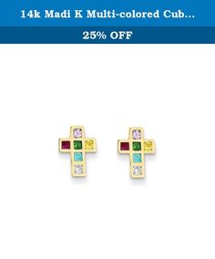 14k Madi K Polished Tiny Cross Screwback Earrings Best Quality Free Gift Box