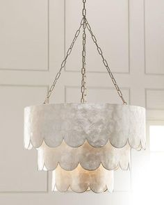 Shop Three-Tiered Scalloped Capiz Pendant at Horchow, where you'll find new lower shipping on hundreds of home furnishings and gifts. Capiz Shell Chandelier, Chandeliers, Chandelier Lighting, Beach Chandelier, Fabric Chandelier, Pendant Lighting Bedroom, Dining Chandelier, Chandelier Shades, Rustic Lighting