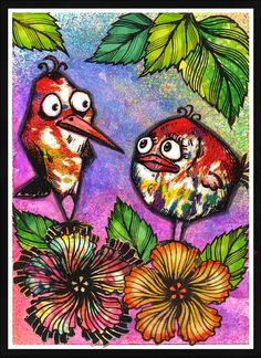 anjas-artefaktotum: Magazine stamping with crazy birds and Designs by Ryn: Hibiscus (unmounted sheet)