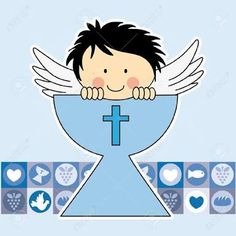 Risultati immagini per espíritu santo primera comunion First Communion Cards, Baptism Cards, First Communion Invitations, Christening Invitations, First Holy Communion, Baptism Cookies, Baptism Favors, Diy Angels, Digital Stamps