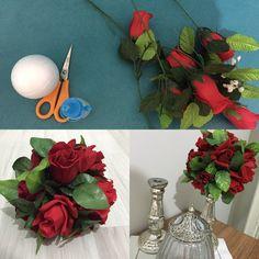 """Eski yapay çiçekleri """"-top strafor-çiçek-yapıştırıcı """" kullanarak değilşik bir forma sokabilirsiniz."""