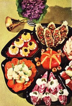 Appetizers that make you lose your appetite. Oh, no thank you! I already ate aspic creamed salmon! Full up.