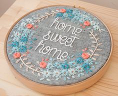 This embroidery work comes framed by wooden embroidery hoop in 20 cm diameter. Cotton threads on linen fabric.  Made to order.  We can customise:  -