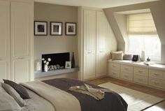 Contemporary White Fitted Bedroom Furniture With Fireplace Install Center and Height To Ceiling Fitted Wardrobes With 4 Doors and Small Storage Furniture, Beautiful Bedrooms, Traditional Living Room Furniture, Tidy Bedroom, Storage Furniture Bedroom, Small Bedroom, Beautiful Bedroom Designs, Cream Bedroom Furniture, Interior Design Bedroom