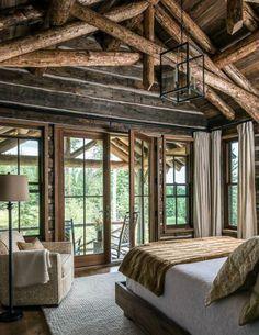 Fantastic Rustic Cabin Bedroom Decorating Ideas on Home Inteior Ideas 7175 Log Cabin Living, Log Cabin Homes, Log Cabin Bedrooms, Construction Chalet, Log Home Decorating, Decorating Ideas, Decor Ideas, Balkon Design, Cabin In The Woods