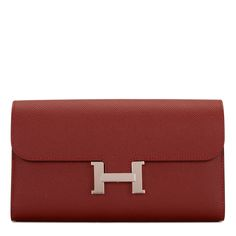 Hermes Constance Long Wallet of Rouge H Epsom Leather with palladium hardware in store fresh condition. Shop authentic Hermes at Madison Avenue Couture. Hermes Handbags, Luxury Handbags, Card Wallet, Clutch Wallet, Real Leather Wallet, Hermes Constance, Long Wallet, Travel Style, Purses And Bags