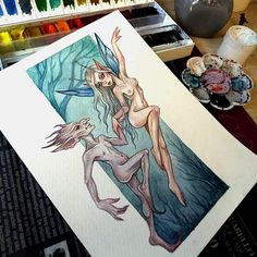 Original watercolor art in the style of fantasy Fairy #art #illustration #fantasyart #fantasy #fay #fairytale #fairies #fairy #forest #watercolor #watercolorpainting #nude #blackfury
