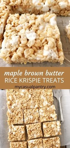 These classic bars start with the best recipe for the ultimate marshmallow treat: chewy, gooey, and buttery. Layer in brown butter and maple extract for a wonderful fall-inspired version. These are a must make! | mycasualpantry.com #marshmallowtreats #ricekrispie #sweets #marshmallowbars #easyrecipes #nobake #marshmallows #cerealbars Paleo Cookies, Cookie Desserts, Fun Desserts, Butter Rice, Brown Butter, Rice Krispie Treats, Rice Krispies, Fruity Pebbles Cereal, Paleo Ice Cream