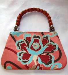 Small Peach Coral and Turquoise Purse Recycled by SadiesSnippets, $18.00