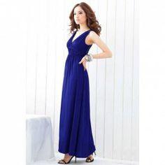 $10.30 Women 's V-Neck High-Waist Openwork Sleeveless Cotton Maxi Dress