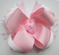 Elegant Pink and White Layered Boutique Hair by jlaustindesigns, $7.00