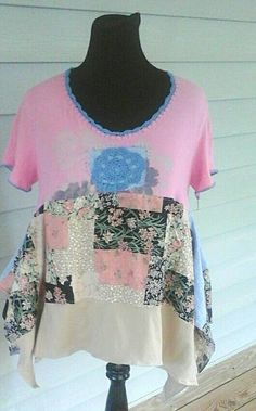 Check out this item in my Etsy shop https://www.etsy.com/listing/234153295/pink-floral-tunic-top-junk-gypsy-boho