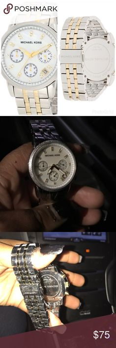Michael Kors Watch Has been worn, still in great conditioned, needs to be polished, 2 tiny scuffs that you can barely see. Has glow in the dark hands. 1 link was taken out. Perfect watch for every day wear Michael Kors Jewelry