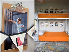 Clipboards with Pictures on the wall next to each child's bunk bed