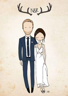 wedding thank you cards wedding custom portrait Blanka Biernat