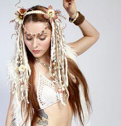 headdress, headdresses, wig, dreads, white headdress, dreadfalls, tribal, tribal headdress, feather headdress, witch, witchy, goddess, gypsy, festival wear, burlesque, faery, fairy, faerie, fantasy, burningman, queen, woodland faery, nymph, lotuscircle, www.etsy.com/shop/lotuscircle