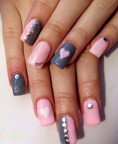 Grey pink studs hearts