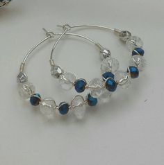 Items similar to Gorgeous silver, crystal and cobalt blue beads wire wrapped on hoop earrings. on Etsy Wire Jewelry, Jewlery, Handmade Jewelry, Beads And Wire, Blue Beads, Cobalt Blue, Eye Candy, Hoop Earrings, Lovers