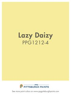 LAZY DAIZY paint color is part of the Yellows color family by PPG Pittsburgh Paints®. Yellow Paint Colors, Neutral Paint Colors, Yellow Painting, Beige Color, Wall Colours, House Color Schemes Interior, Interior Colors, Popular Paint Colors, Ppg Paint