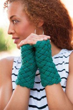 "Post stitches worked in a basket weave pattern make for a stunning accessory, and Laurinda Reddig added a neat ""twist"" to the design with her Basketweave Mitts from Interweave Crochet Accessories 2014. The cables are worked in an edgeless design, with the selvedge stitches worked under the top three horizontal strands of the stitch below,…"