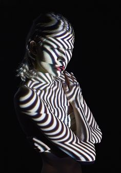 """Creative Fashion Portrait Photography art by Mads Perch Danish -born London-based photographer project called """" Time Move """" on dark background with space colors reshape the body"""