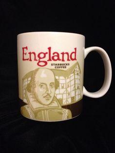Starbucks England Icon Mug MIC Shakespeare Globe Brown Dover Cliffs Cup Coffee #Starbucks