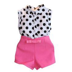 2016 new summer girls clothing sets girl baby clothes polka dot coat + pink pants baby clothing Kids Outfits Girls, Girl Outfits, Girls Dresses, Polka Dot T Shirts, Toddler Pants, Toddler Girls, Baby Girls, Kids Girls, Girl Sleeves