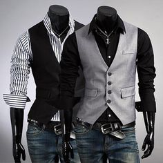 New Fashion Spring Stylish Mens Tops Casual Single-Breasted Slim Business Suit Vest Waistcoat 2 Colors Drop Shipping 561818 Mens Suit Vest, Mens Suits, Trendy Suits, Men Dress, Dress Vest, Vest Jacket, Ideias Fashion, Men Casual, Mens Vests Casual