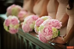 Bridesmaid Bouquets | Pink Peonies | Bridesmaids | Wedding Flowers | Boston Wedding | Custom Floral Design | Stapleton Floral Design | Boston Wedding Florist
