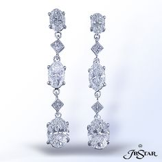 Oval and Princess Cut Diamond Earrings by JB Star.  Available at Alson Jewelers.