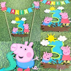 Peppa Pig and George Bunting Topper with Age Muddy Puddles Cake Topper- pc set) Peppa Pig Boy Birthday Smash Cake Bolo Da Peppa Pig, Cumple Peppa Pig, Peppa Pig Birthday Cake, Birthday Cake Card, Boy Birthday, Pig Party, 4th Birthday Parties, Cake Toppers, Cake Bunting