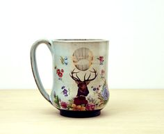 Handmade Pottery Mug, Retro Elk Mug, vintage flowers, coffee cup, contemporary folk art pottery, Gift for Mom, Monarch of the Glen