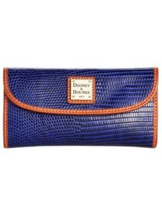 Dooney & Bourke Lizard-Embossed Continental Clutch Wallet, A Macy's Exclusive Style  - Blue