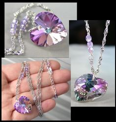 Pink Purple Heart Necklace Sterling Silver by DorotaJewelry, $36.00