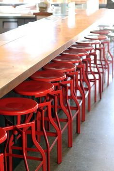 Red stools at Bestia Restaurant in LA via Remodelista. For impact, a pop of red in a natural space Red Restaurant, Restaurant Design, Vintage Restaurant, Restaurant Ideas, Cafe Interior, Interior Design, Restaurant Furniture, Restaurant Chairs, Lunch Room