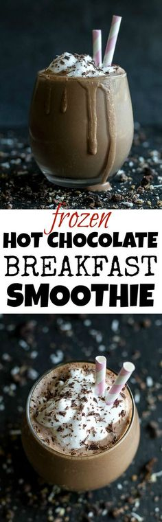 Frozen Hot Chocolate Breakfast Smoothie -- cool, creamy, and sure to keep you satisfied for hours! This delicious vegan smoothie is nutritious enough to enjoy for breakfast and decadent enough to crave for dessert | runningwithspoons... #recipe #healthy