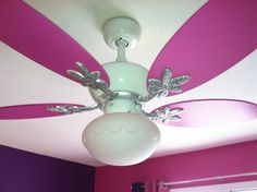 Jacey's ceiling fan I painted and blinged out with glitter.