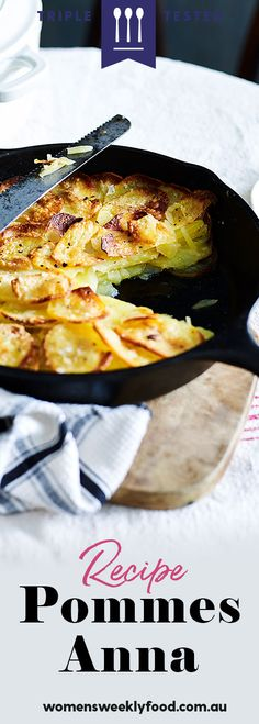 This pommes Anna recipe, also known as potatoes Anna, is a classic French dish of sliced, layered potatoes cooked melted butter and loaded with garlic Pommes Anna Recipe, Potatoes Anna, Ricotta Stuffed Chicken, Sweet Potato Pizza, Classic French Dishes, Potato Side Dishes, Roast Dinner, Vegetable Dishes, Potato Recipes
