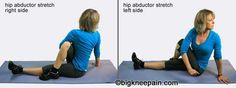 hip abductor stretch...ouch! I feel the stretch just looking at this