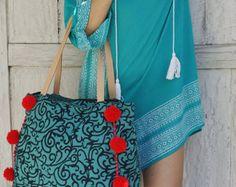 Pompón bolsa playa bolsa/pompón bolsas o borlas por JavaSpirit